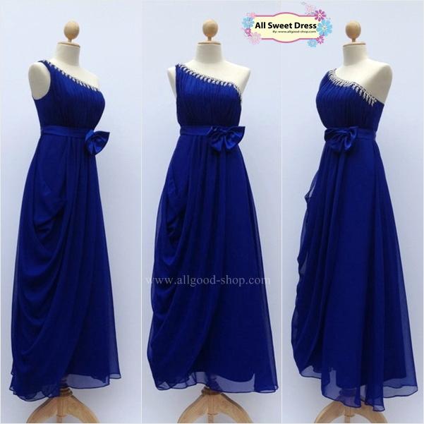 เช่าชุดราตรีเดรสยาวสีน้ำเงินสวยหรู คลาสสิคสไตล์ ใส่ไปงานแต่งงาน งานพรอม ออกงานกลางคืนแบบสวยเนี๊ยบ