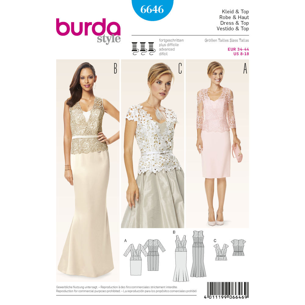 แพทเทิร์นตัดเดรสออกงาน เสื้อออกงาน สวยหรู ยี่ห้อ Burda Style (6646) ไซส์: 8-10-12-14-16-18