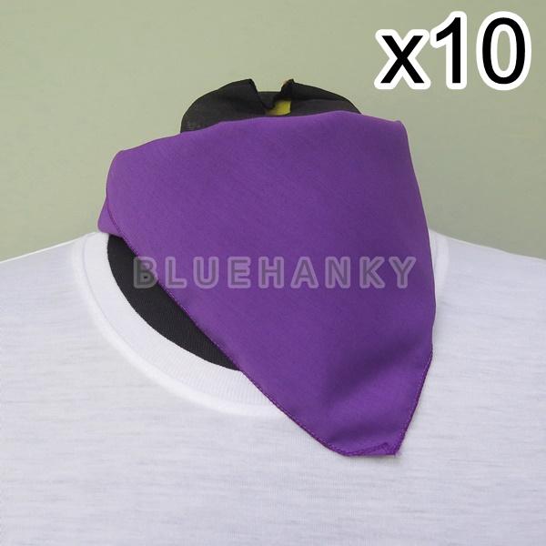 10ผืน สีม่วงเข้ม สี่เหลี่ยม53ซม ผ้าพันคอกีฬาสี ผ้าเช็ดหน้าผืนใหญ่