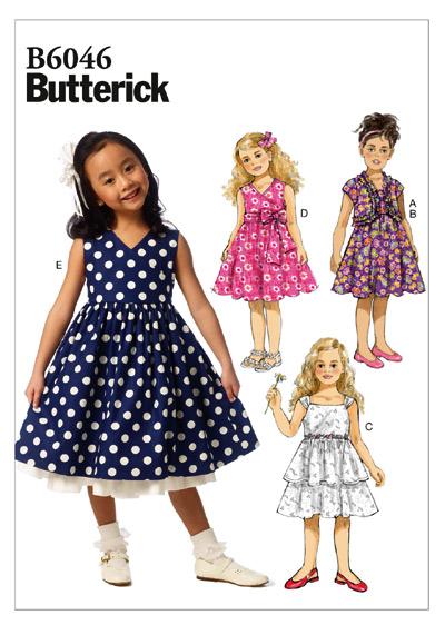 แพทเทิร์นตัดชุดเดรสเด็กหญิง Butterick 6046 Size: 2-3-4-5