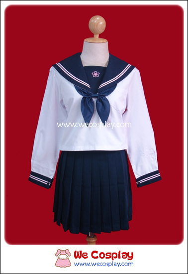 ชุดนักเรียนญี่ปุ่นแขนยาวสีขาว ปกกะลาสี/กระโปรงสีกรมท่า ลายดอกซากุระ พร้อมถุงเท้าระดับเข่าสีดำ
