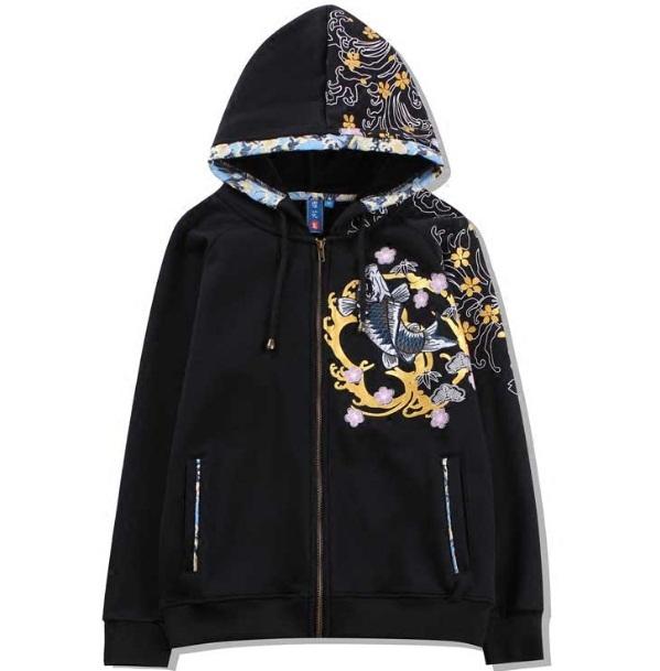 *Pre Order*Jinzhong embroidery jacket hooded ปักลายแฟชั่นญี่ปุ่น size M-L-XL