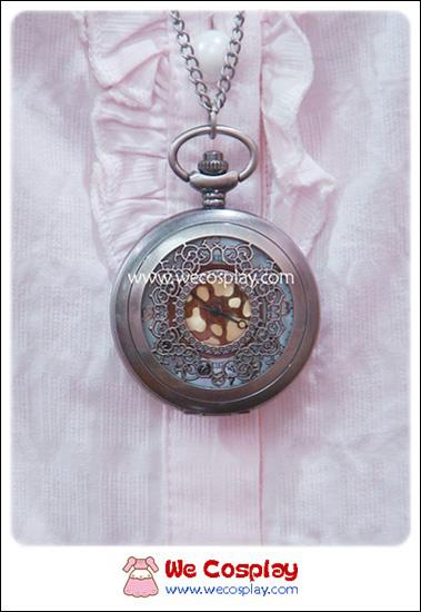 สร้อยคอโกธิคโลลิต้า จี้ล็อกเก็ตนาฬิกาขนาดใหญ่สีเงิน ฝาลายฉลุ