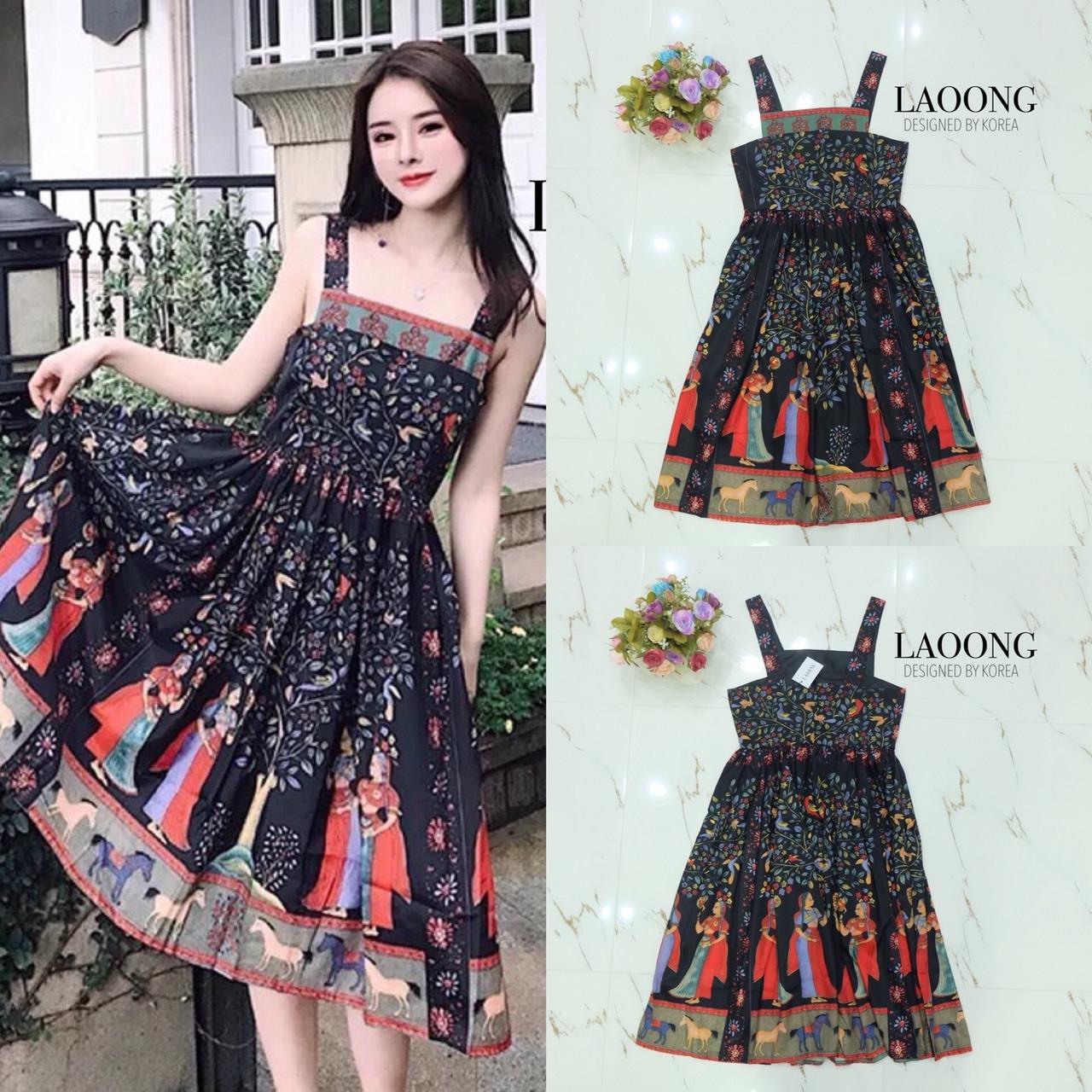 ชุดเดรสเกาหลี พร้อมส่ง Dress ยาวแขนกุดพิมพ์ลาย