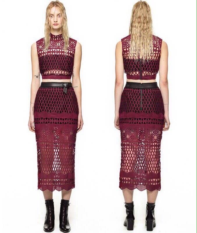 พร้อมส่ง เสื้อผ้าเกาหลี Luxury Red Wine Lace Set
