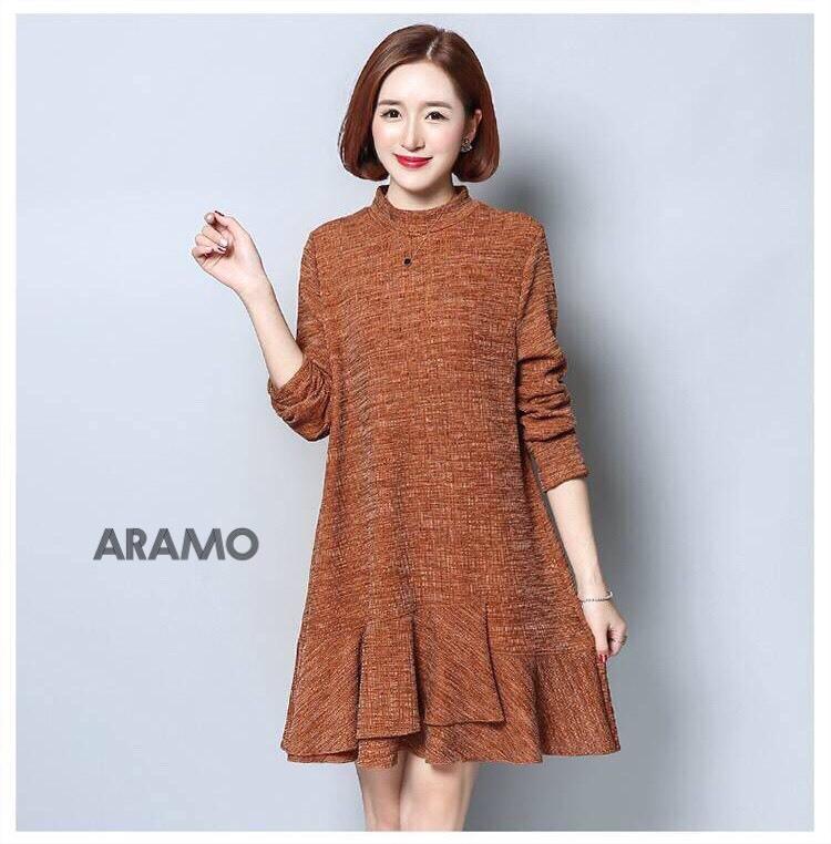ชุดเดรสเกาหลี พร้อมส่ง Mini Dress คอเต่า