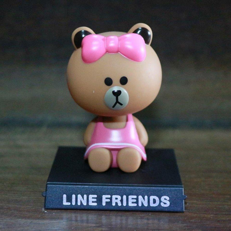 GC015 ตุ๊กตาส่ายหัว หมีบราวน์ วางในรถยนต์ หรือ ตู้โชว์ สวย น่ารัก ตรงฐานสามารถเลื่อนออกมาเพื่อวางมื่อถือได้ครับ