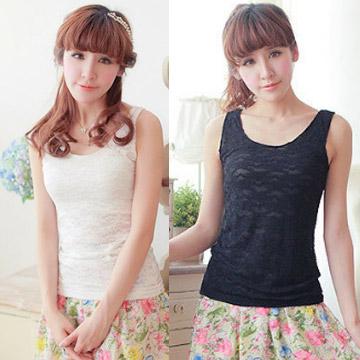 WG015 เสื้อกล้ามซับในเต็มตัว ผ้าลูกไม้ สวยหวาน มี 3 สี ขาว ครีม ดำ