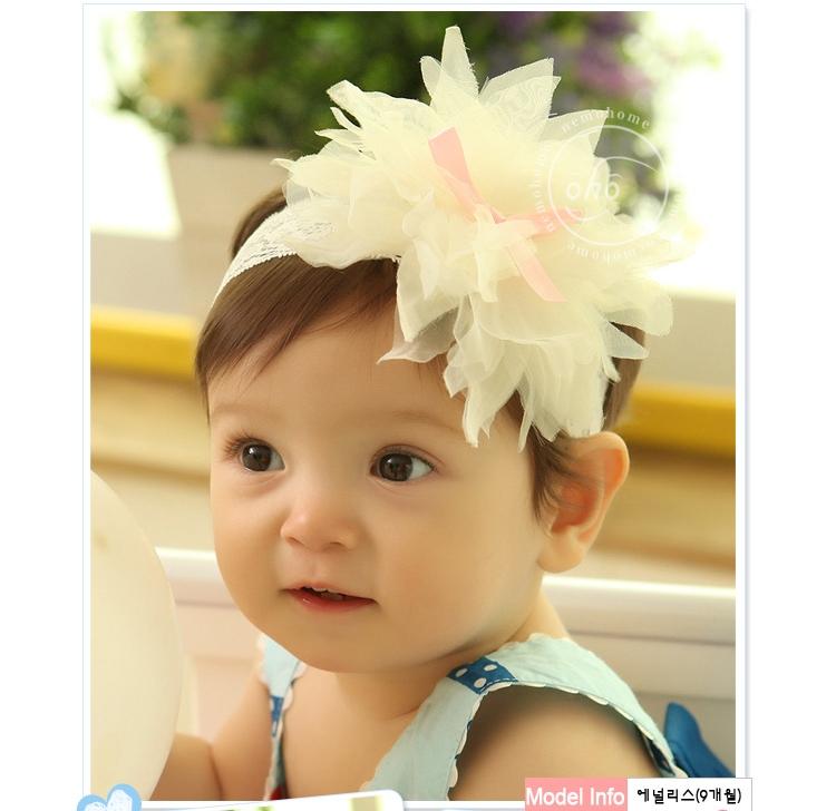 ผ้าคาดผมเด็กประดับดอกไม้ฟูฟ่องสีขาว