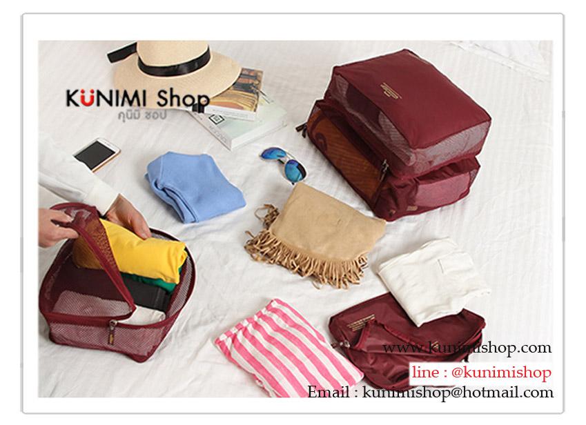 กระเป๋าจัดเก็บเสื้อผ้า จัดระเบียบกระเป๋าเดินทาง สะดวกในการหยิบใช้งาน วัสดุ : ผ้าไนลอนโพลีเอสเตอร์ 1 เซต มี 7 ใบ / 7 ขนาด