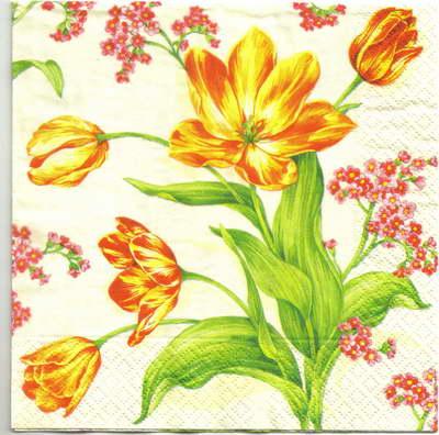 แนวภาพดอกไม้ เป็นช่อดอกไม้สีขาวสีเหลือง เป็นภาพกระจายเต็มแผ่น กระดาษแนพกิ้นสำหรับทำงาน เดคูพาจ Decoupage Paper Napkins ขนาด 33X33cm