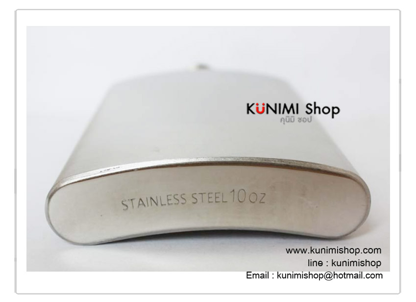 กระป๋องใส่เหล้าและเครื่องดื่ม ขนาด 10 Oz แบบเรียบไม่มีลวดลาย กระป๋อง ขวด ใส่เหล้า ใส่เครื่องดื่ม ทำจาก สแตนเลส Stainless Steel ขนาดเล็ก กะทัดรัด พกพา สะดวก พร้อมกรวยสแตนเลส ขนาดความจุ 10 ออนซ์ (300 ซีซี ) ( กว้าง : 9.5 ซม. , สูง(ถึงฝา) : 16 ซม., หนา : 2.2 ซม. )