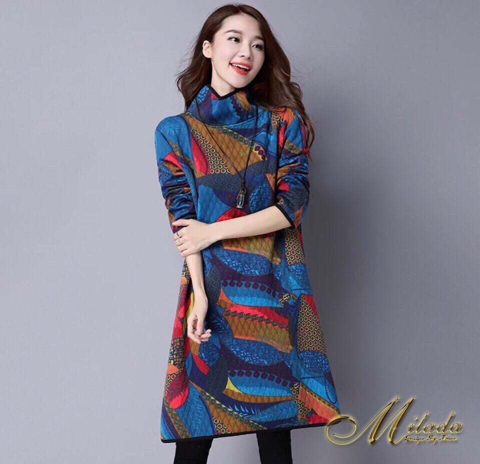 เดรสเกาหลี พร้อมส่ง Dress คอเต่า แขนยาว