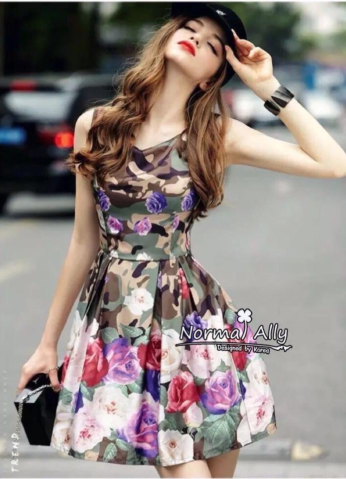 พร้อมส่ง เดรส Korea Style ลายผ้าสวย