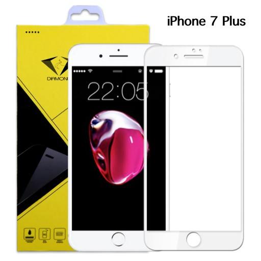 Diamond ฟิล์มกระจกนิรภัย ฟิล์มกันรอยมือถือ iPhone 7 Plus ไอโฟน7พลัส แบบเต็มจอ สีขาว
