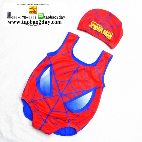 ชุดว่ายน้ำเด็กทารกความสูง 55-95ซม. ลายการ์ตูนสไปเดอร์แมน