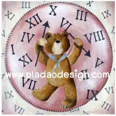 กระดาษสาพิมพ์ลาย rice paper เป็น กระดาษสา สำหรับทำงาน เดคูพาจ Decoupage แนวภาพ น้องหมี เท็ดดี้ แบร์ teddy bear ผู้ควบคุมเวลา ถือเข็มสั้นเช็มยาวเตรียมประกอบนาฬิกา (pladao design)