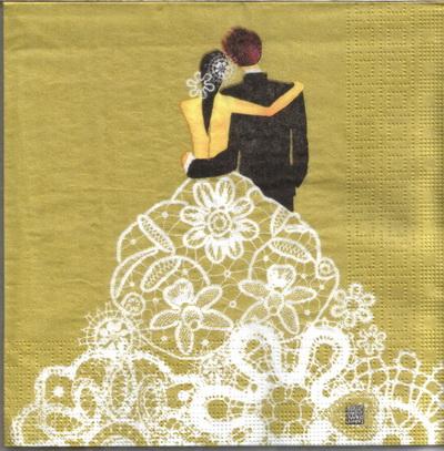 แนวภาพ Wedding บ่าวสาวตระกองกอด บนพื้นสีทอง กระดาษแนพกิ้นสำหรับทำงาน เดคูพาจ Decoupage Paper Napkins เป็นภาพ 4 บล๊อค ขนาด 33X33cm