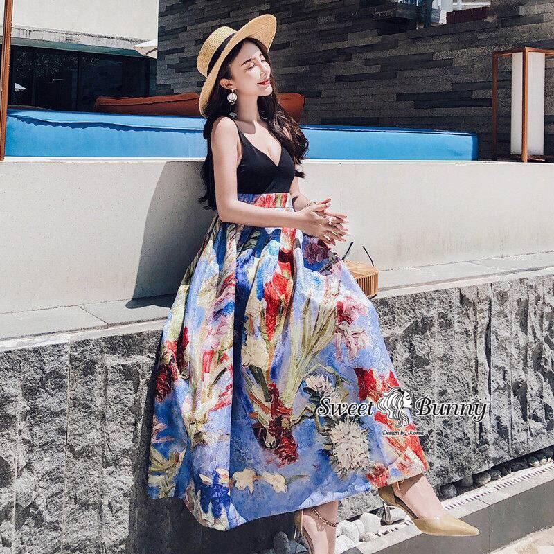 ชุดเดรสเกาหลี พร้อมส่ง ชุด Maxi Dress เกาหลี
