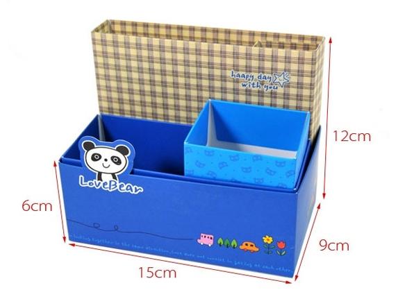 กล่องกระดาษDIY ใส่ของใช้จุกจิก เครื่องสำอางค์ เครื่องเขียน ลายการ์ตูนน่ารัก ช่วยให้โต๊ะทำงาน เป็นระเบียบ