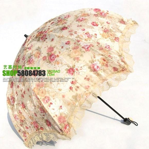 umbrella ร่มกันแดด ป้องกันรังสี UV ลายดอกไม้ ตกแต่งระบายด้วยลูกไม้ค่ะ (ตัวแทน 650บาท)