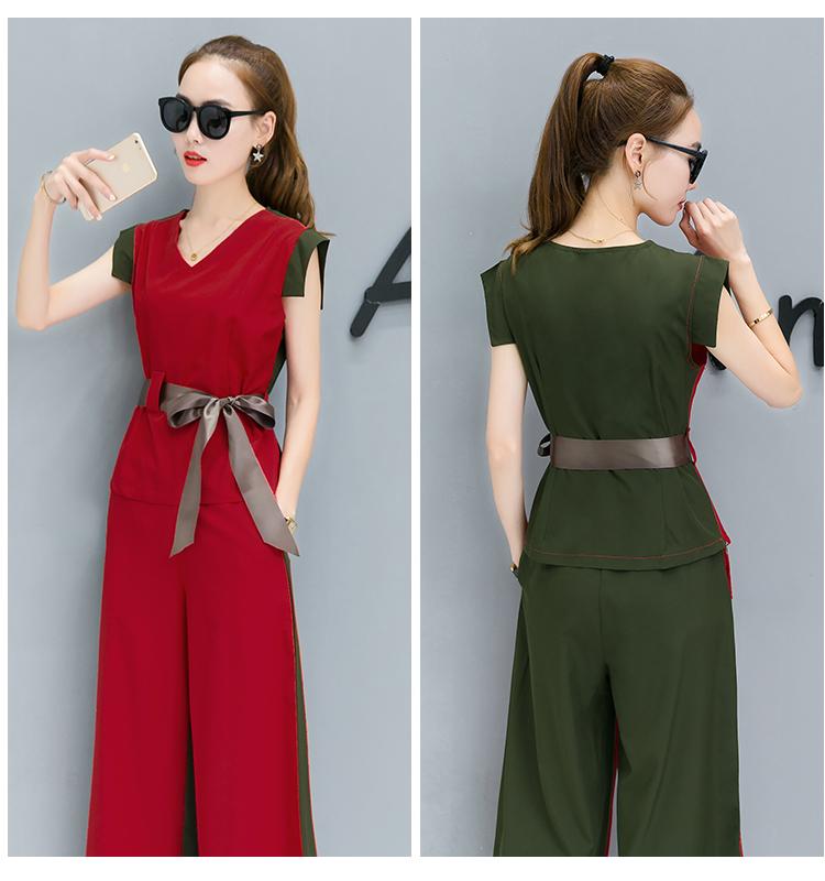 ชุดสูทกางเกงคู่ เสื้อแขวนกุด คอวีแฟชั่นเกาหลี