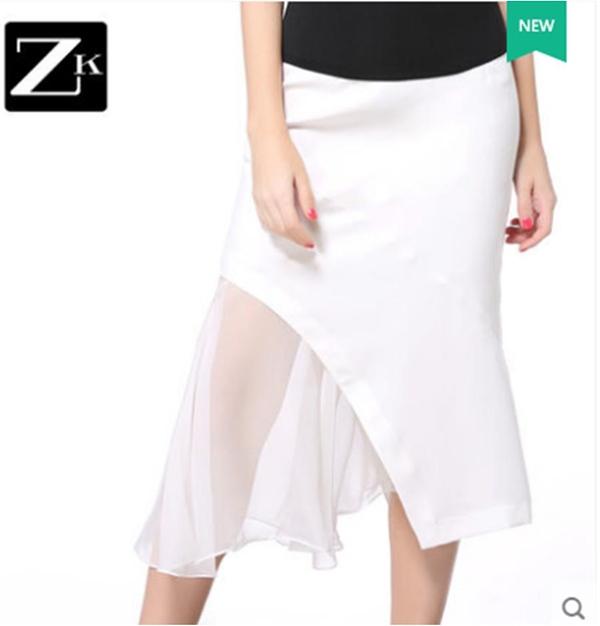 Pre-Order กระโปรงผ้าโพลีเอสเตอร์แต่งด้วยชีฟองซีทรู สีขาว