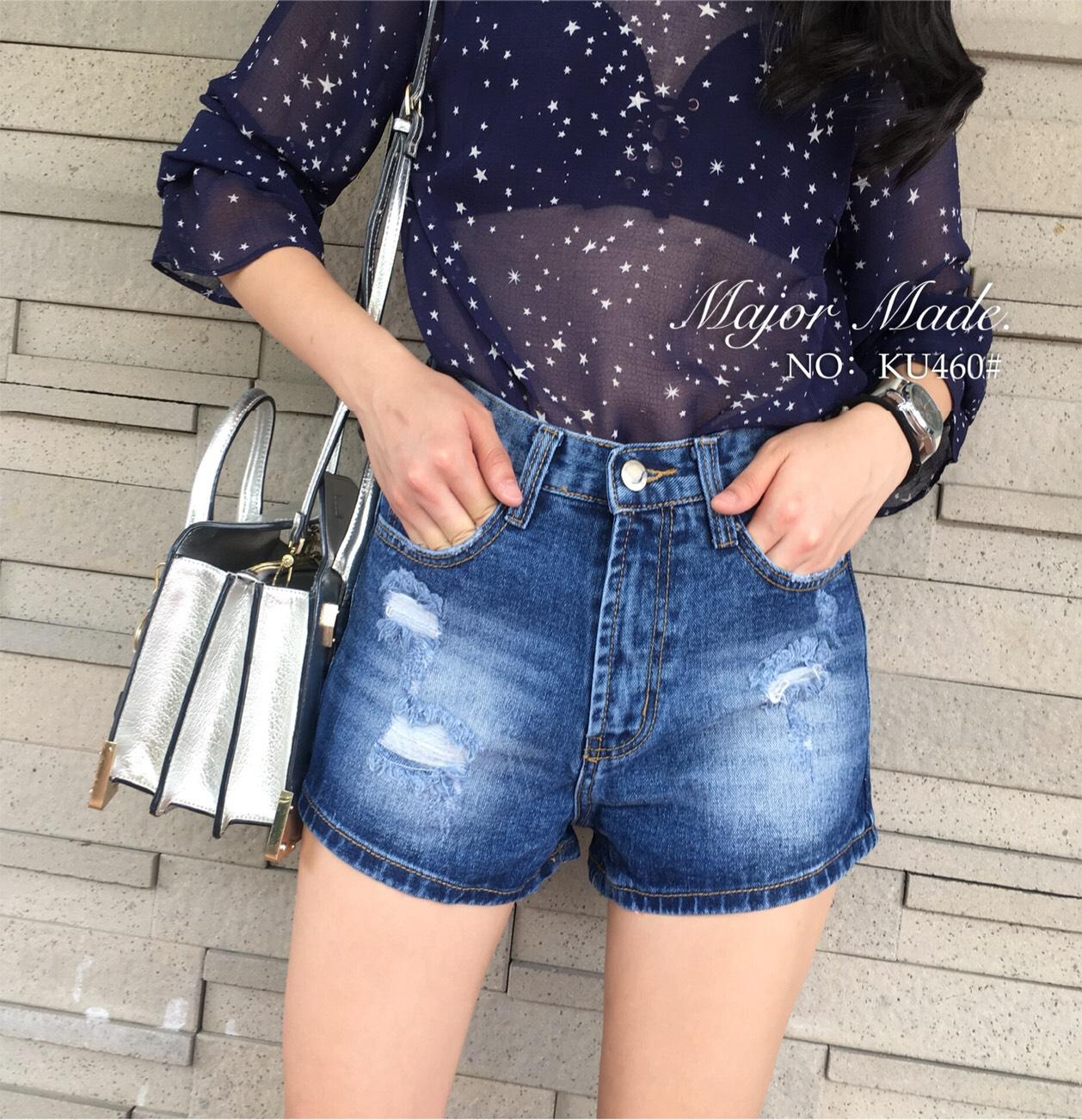 กางเกงแฟชั่น Korea Denim Shorts กางเกงยีนส์ขาสั้นเอวสูง สีสวยได้ใจ
