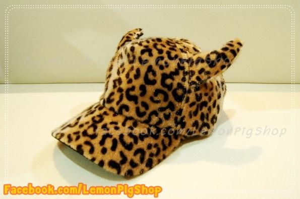 หมวกขนนุ่ม มีเขา ลายเสือดาว สีน้ำตาล น่ารักมากกกก
