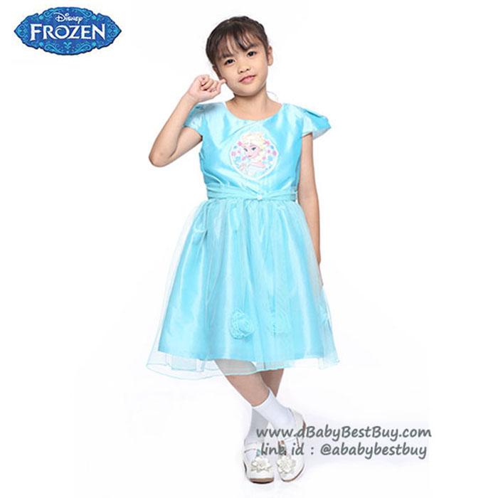 (4-6-8-10 ปี) ชุดเดรสราตรีคอกว้างสีฟ้า แขนสั้น ลายเจ้าหญิงเอลซ่า ดิสนีย์แท้ ลิขสิทธิ์แท้ (สำหรับเด็ก4-6-8-10 ปี)