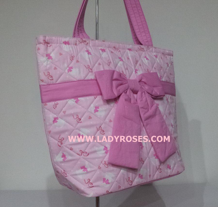 กระเป๋าสะพาย นารายา ผ้าคอตตอน สีชมพู ลายกระต่าย ติดโบว์ น่ารัก ผูกโบว์ (กระเป๋านารายา กระเป๋าผ้า NaRaYa กระเป๋าแฟชั่น)