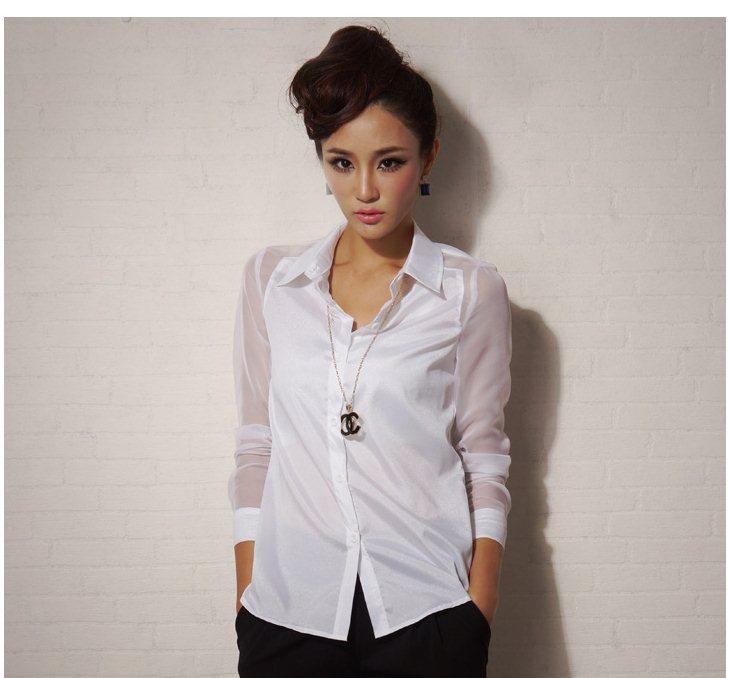 Pre-order เสื้อทำงาน เสื้อเชิ้ตแขนยาว ผ้าชีฟอง สีขาว แฟชั่นเสื้อผ้าเกาหลี ปี 2014