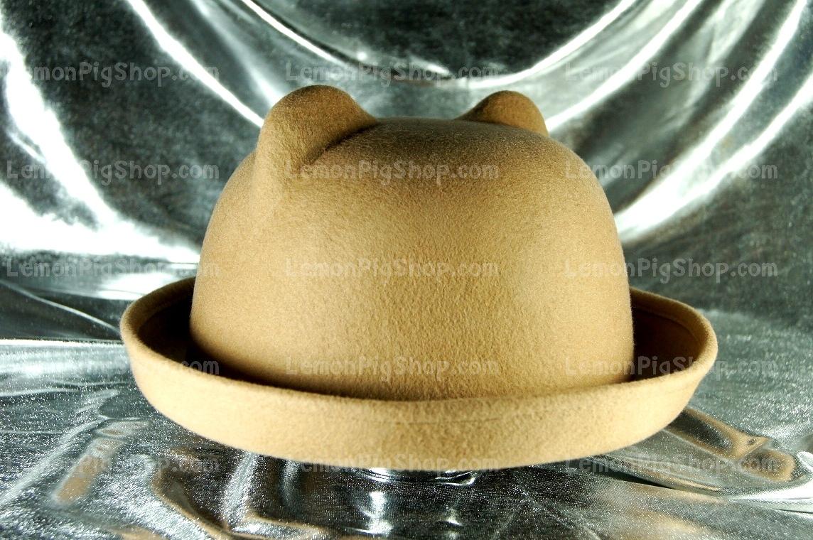 หมวกหูแมว ปีกรอบ สีน้ำตาลอ่อน สุดฮิต !!