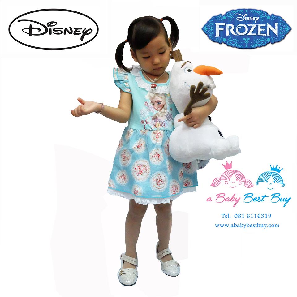 z ชุดเดรสกระโปรงสั้นสีฟ้า ลายเจ้าหญิงเอลซ่า แขนกุด ดิสนีย์แท้ ลิขสิทธิ์แท้ (สำหรับเด็ก1-2-3 ปี)
