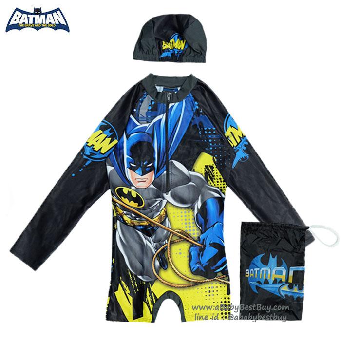 ( สำหรับเด็กอายุ 6เดือน-14 ปี) ชุดว่ายน้ำเด็กผู้ชาย บอดี้สูท เสื้อแขนยาวกางเกงขาสั้นสกรีนลาย Batman มาพร้อมหมวกว่ายน้ำและถุงผ้า สุดเท่ห์ ใส่สบาย ลิขสิทธิ์แท้