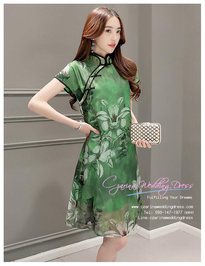 Z-0194 ชุดกี่เพ้าสวยๆ หรู ราคาถูกกว่าเช่า ชุดยกน้ำชา สีเขียว แนวประยุค