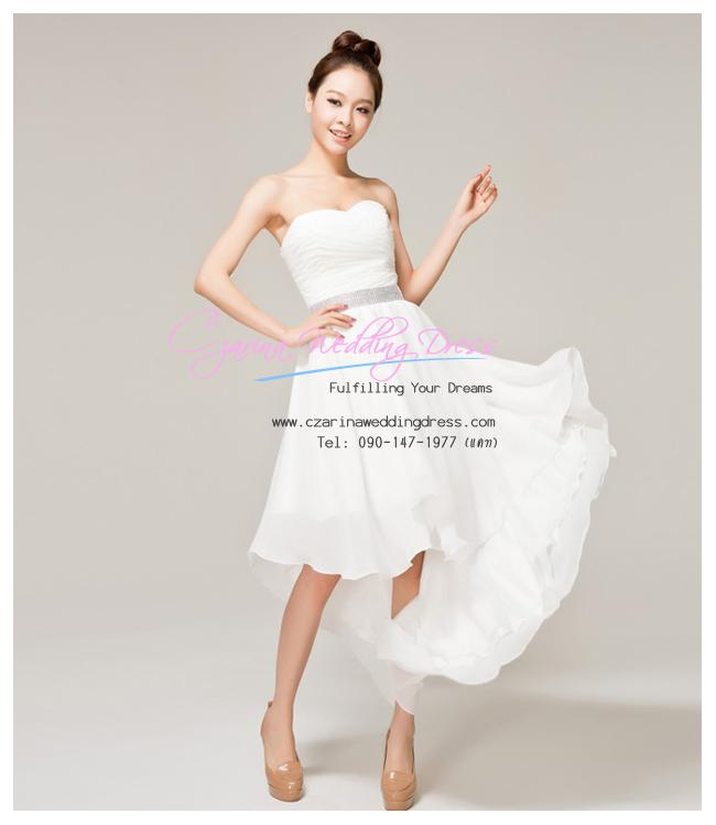 ws5029 ขาย ชุดแต่งงานสั้น หน้าสั้นหลังยาว สีขาว ราคาถูกกว่าเช่า