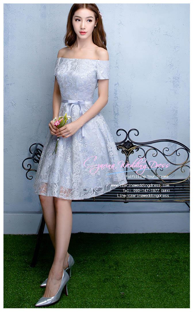 Z-0310 ชุดไปงานแต่งงานน่ารัก แนววินเทจหวานๆ สวย งามสง่า ราคาถูก สีชมพู