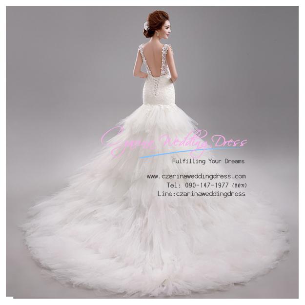 WB40017 ขาย ชุดแต่งงานแบบโชว์แผ่นหลัง สไตล์ลากยาว ราคาถูก สวยหรูด้วยงานลูกไม้ ชุดแต่งงานดารา
