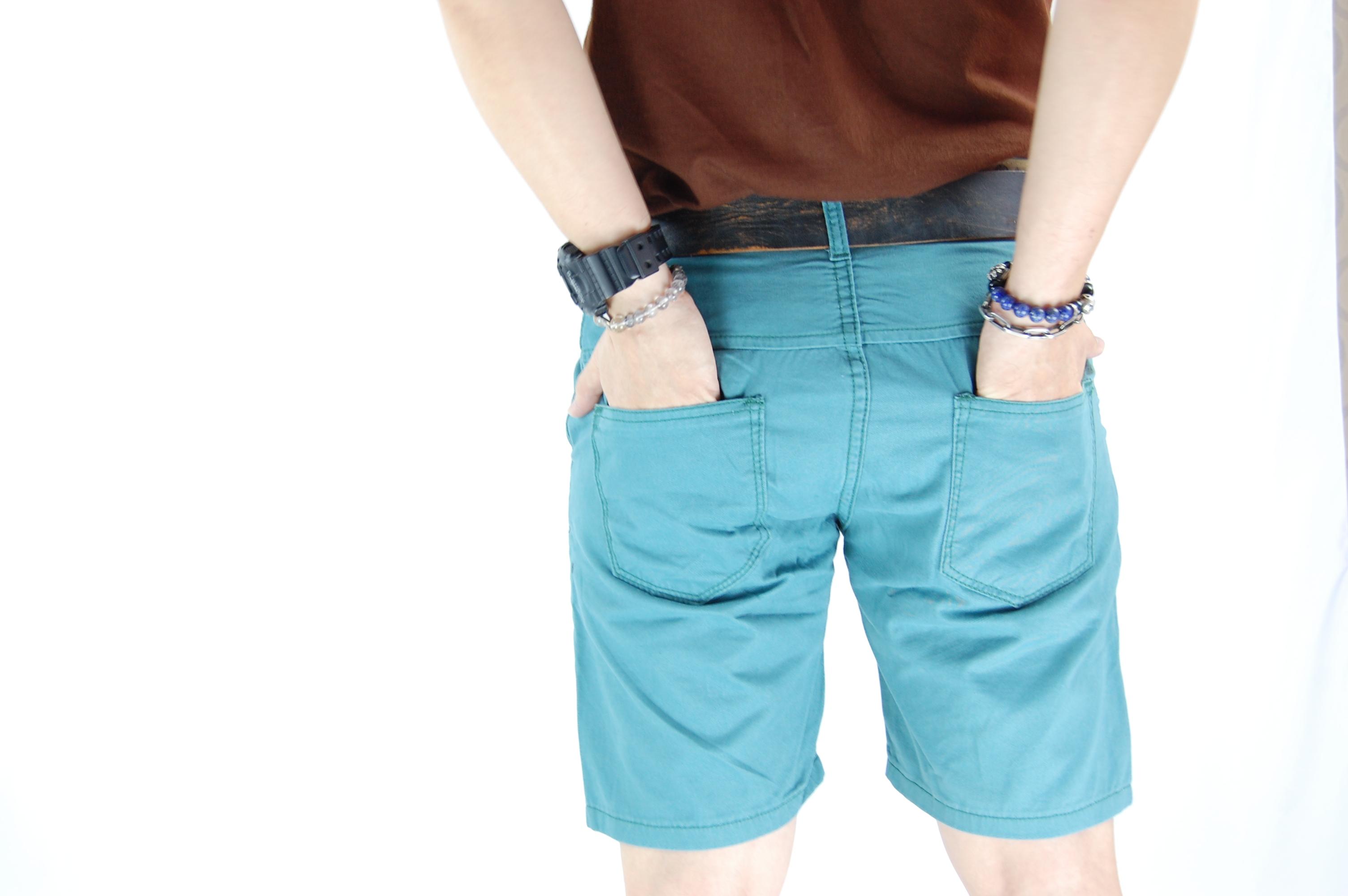 กางเกงขาสั้น สีฟ้ามน 29-6--3