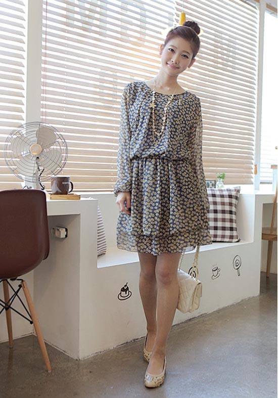 ++เสื้อผ้าไซส์ใหญ่++* Pre-Order* ชุดเดรสเกาหลีไซด์ใหญ่ ผ้าชีฟองลายดอกไม้เล็กๆๆ แขนยาว เอวติดยางยืด