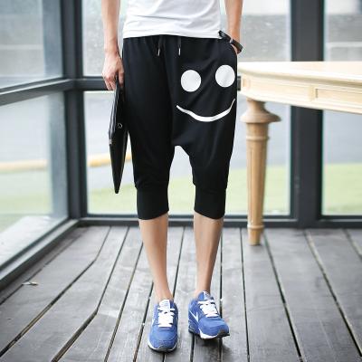 กางเกงขาสั้นเกาหลี แนว Sport ทรงฮาเร็ม แต่งลายด้านหน้า จั้มปลายขา มี3สี