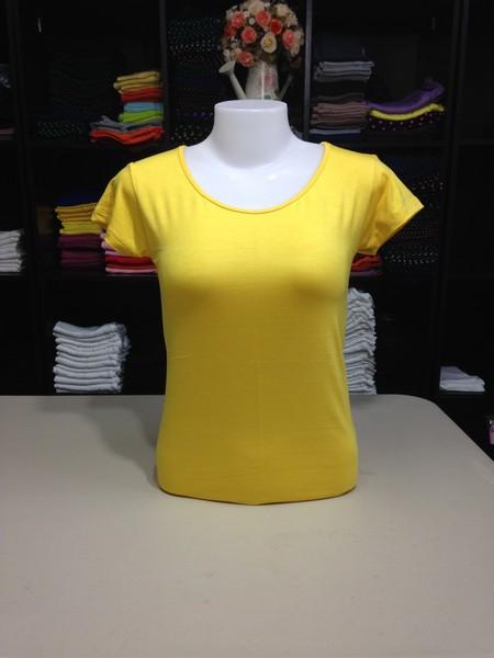 """เสื้อยืดคอกลม สีเหลืองสด size """"M"""""""