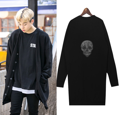 เสื้อแจ็คเก็ตคลุมเกาหลี สีดำ แต่งกระดุม พิมพ์ลายกะโหลกด้านหลัง