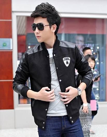Pre Order เสื้อแจ็คเก็ตผู้ชายสุดเท่ห์ ดีไซน์เป็นกระดุมหน้า เสื้อแต่งด้วยหนังบางส่วน ปักลาย Lamborghini มี2สี