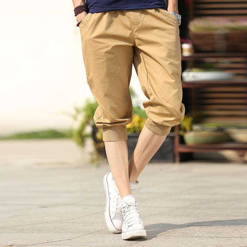 Pre Order กางเกงผู้ชายลุค Sport สีพื้นขาจั้มสามส่วน แฟชั่นเกาหลี มี4สี