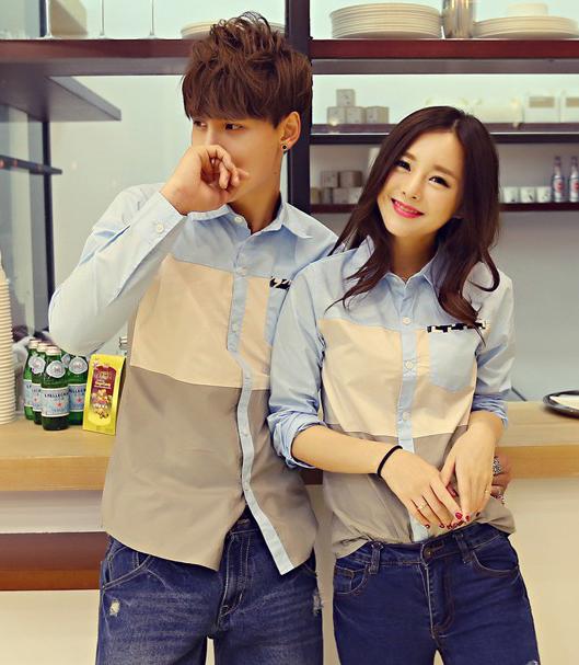 Pre Order เสื้อเชิ้ตคู่รักเกาหลี แขนยาว คอปก แต่งขอบกระเป๋าเสื้อ สีตามรูป