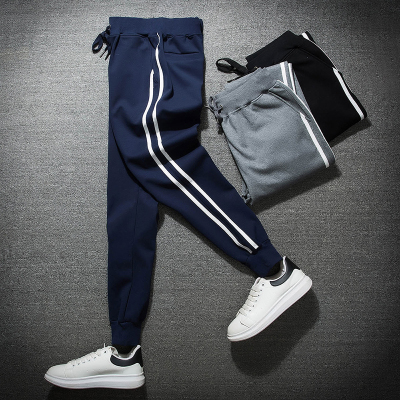 กางเกงวอร์มขายาวเกาหลี แต่งแถบเส้นด้านข้าง มี3สี