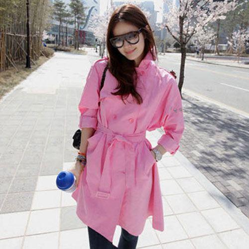++สินค้าพร้อมส่งค่ะ++ Coat เกาหลี ตัวยาว คอปก แขนยาว ผ้าฝ้ายเนื้อผสม แต่งกระเป๋าเฉียงเก๋+สายผูกเอว 1 เส้น – สีชมพู