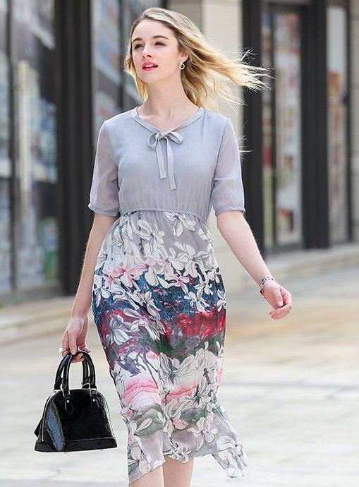PreOrderไซส์ใหญ่ - เดรสแฟชั่น ไซส์ใหญ่ คนอ้วน เสื้อผ้าโพลิเอสเตอร์ ต่อกระโปรงผ้าชีฟองพิมพ์ลายดอกไม้ พริ้ว